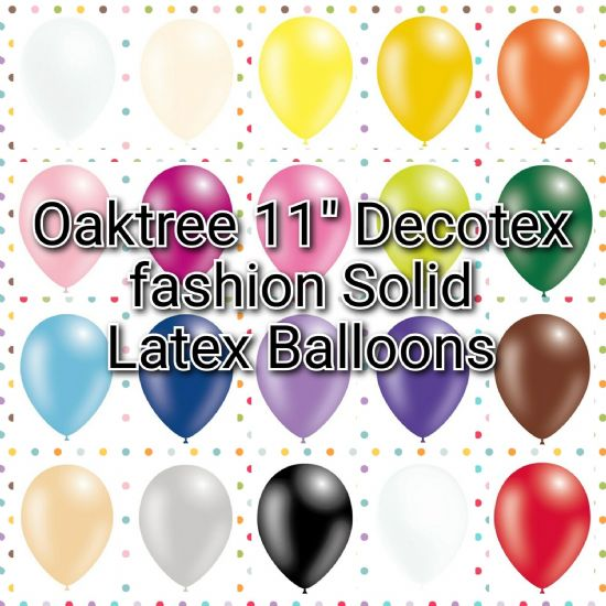 "Oaktree Decotex 11"" Fashion Solid Colour Balloons"